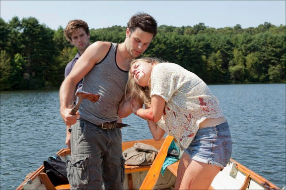 "left to right: Chris Conroy (Matt), Jonny Orsini (Simon) and Bonnie Dennison (Kitty) in Larry Fessenden's ""Beneath"""