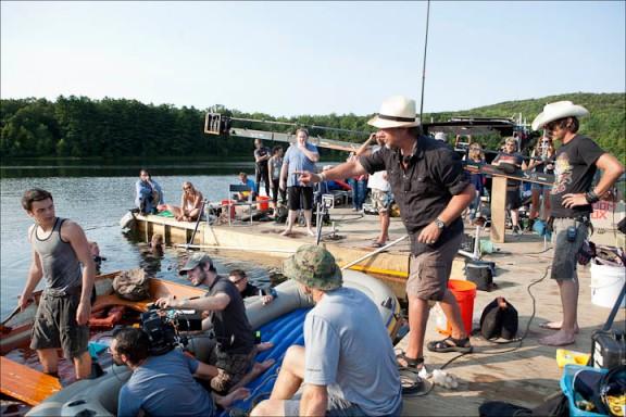 "Larry Fessenden, right, directing Jonny Orsini (Simon) in ""Beneath"""