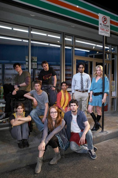 "Gaby Hoffmann (seated, second row, left) and the cast of ""Suburbia"""
