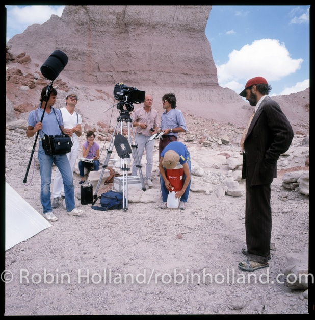 "First shoot day, ""Paris, Texas,"" The Devil's Graveyard, Terlingua, TX, 9/29/83, l to r: Jean-Paul Mugel, Wim Wenders, Helen Caldwell, Robbie Müller, Pim Tjujerman, Agnes Godard and Harry Dean Stanton"