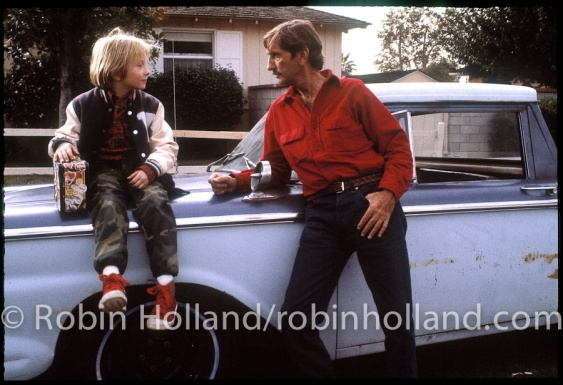 "Hunter (Hunter Carson) and Travis (Harry Dean Stanton) on the set of ""Paris, Texas,"" Los Angeles, 10/83"