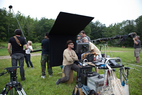 "Tim Guinee (hat), during the shooting of ""One Armed Man"""