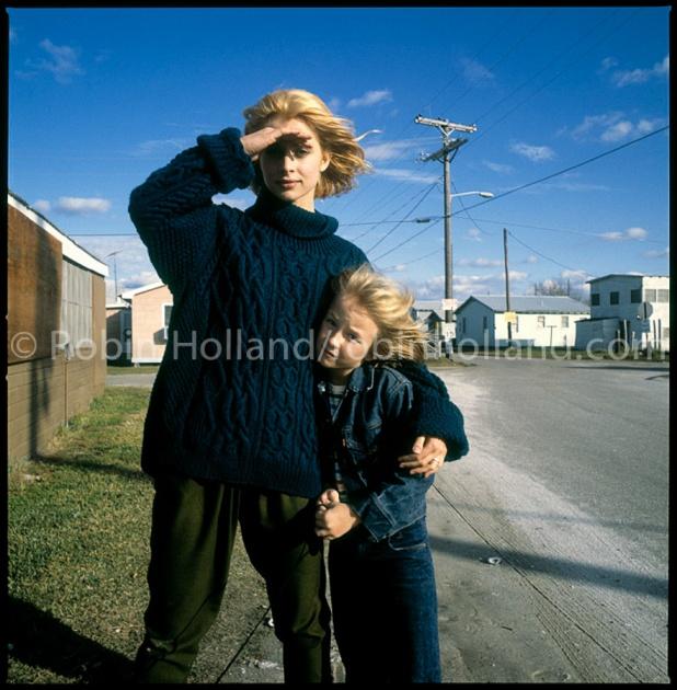 Nastassja Kinski and Hunter Carson, Holly Beach, LA, 11/27/83