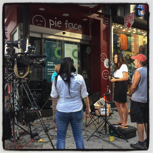 Preparing to be on TV talking about TV, Broadway and 53rd, NYC, 9/8/15