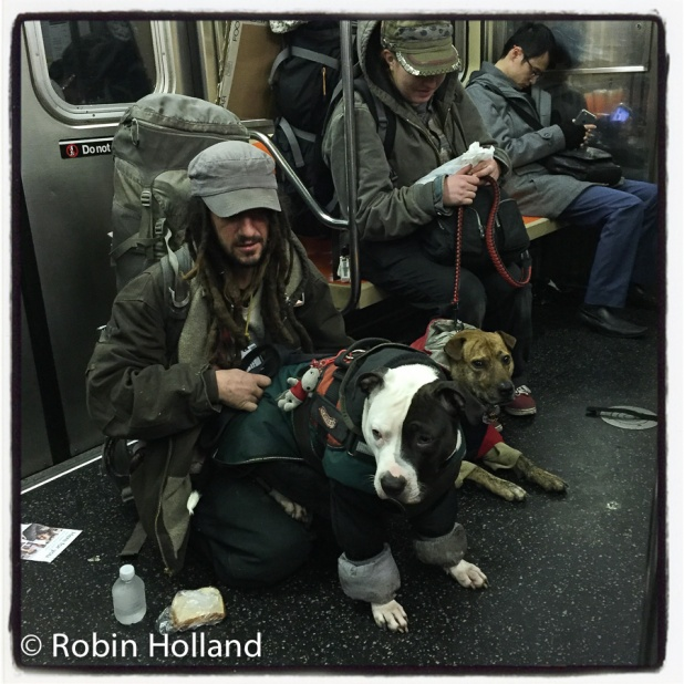 Athena and Bobo, 6 train-Lexington Avenue Local, between 23rd Street and 14th Street, NYC, 1/1//17
